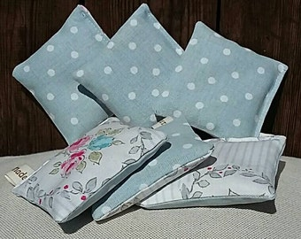 Lavender Sachets. Linen Fabric. Clarke and Clarke Floral and Polkadot fabric. Set of 3