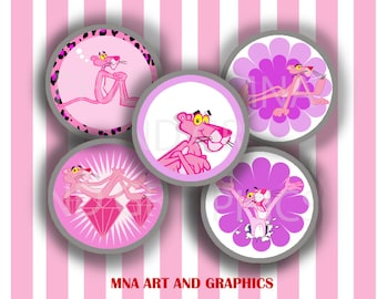 Pink Panther 1 inch round Bottle Cap Images  - Pink Panther MIX  IMAGES Collage Sheet  4x6 inch format