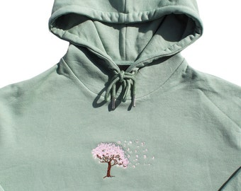 Cherry Blossom Olive Hoodie