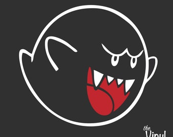 Boo Ghost Vinyl Sticker - 1 or 2 Colors - Inspired by Nintendo's Super Mario Bros Series