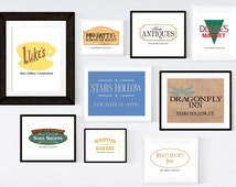 Gilmore Girls Prints, Stars Hollow Town Signs, Set of 9, 3 Sizes Included Printable Wall Art INSTANT DOWNLOAD, Gilmore Girls Poster