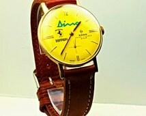 RARE dino ferrari rado manual wind watch yellow dial