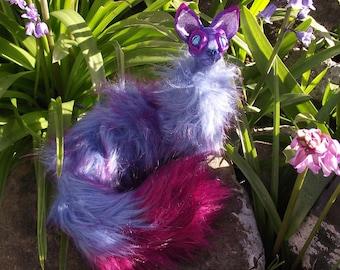 Purple and Pink CatPillar Poseable plush art doll caterpillar cat OOAk sculpture