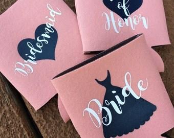 Bridal Can Coolers Bride Maid Of Honor Bridesmaid