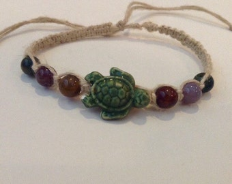 Earthy Green Sea Turtle Bracelet - Sea Turtle Jewelry - Hemp Bracelet - Hippie Jewelry