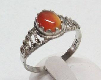Ring silver antique, old silver 800 silver ring with carnelian vintage Gr. 18.6 size 58 SR387