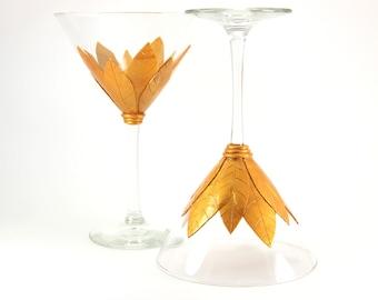 Gold Martini Glasses, Custom Martini Glasses,  Gold Martini , Wedding Gift , Handmade Martini, Unique Wine Glasses, Martini Gift