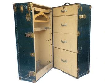 Oshkosh Antique Wardrobe Steamer Trunk