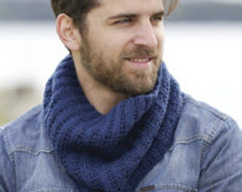 Men neck warmer, wool superwash, hand knit, Drops Garnstudio Design, gift for him