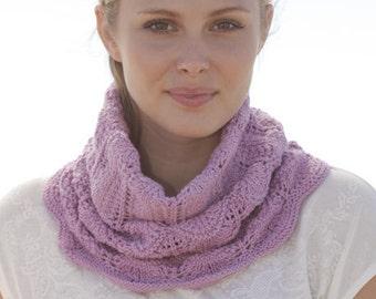 Knit neck warmer, cotton - merino superwash wool, with a beautiful lace pattern