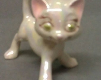 White and Pink Iridescent Cat Figurine