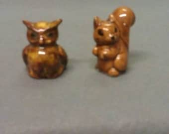 Squirrel and Owl Figurines