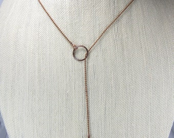 Lariat necklace, copper necklace, long necklace, copper ball necklace