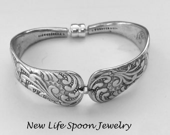 "Spoon Bracelet ""Opal"" Vintage Handmade Silver Bracelet Christmas Gift Vintage Jewelry Recycled Silverware Antique Jewelry Spoon Ring-403"