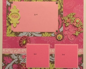 Set of two 12x12 premade scrapbook pages