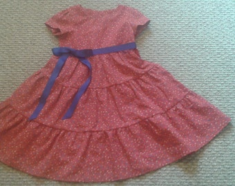 Tired Modest Toddler/Girls Cotton Dress Free shipping and Free Custom Hemming