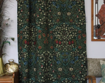 William Morris Blackthorn Chenille Lined Portiere Door Curtain