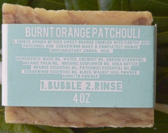 Burnt Orange Patchouli Bubble and Rinse Bar Soap- Vegan- Handmade