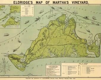 Eldridge's Map of Martha's Vineyard 1913