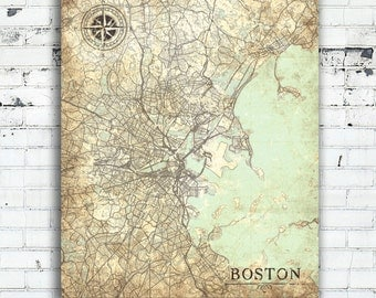BOSTON MA Canvas Print Massachusetts Vintage map Boston Vintage map Boston Wall Art City poster Boston Vintage antique gift home decor map