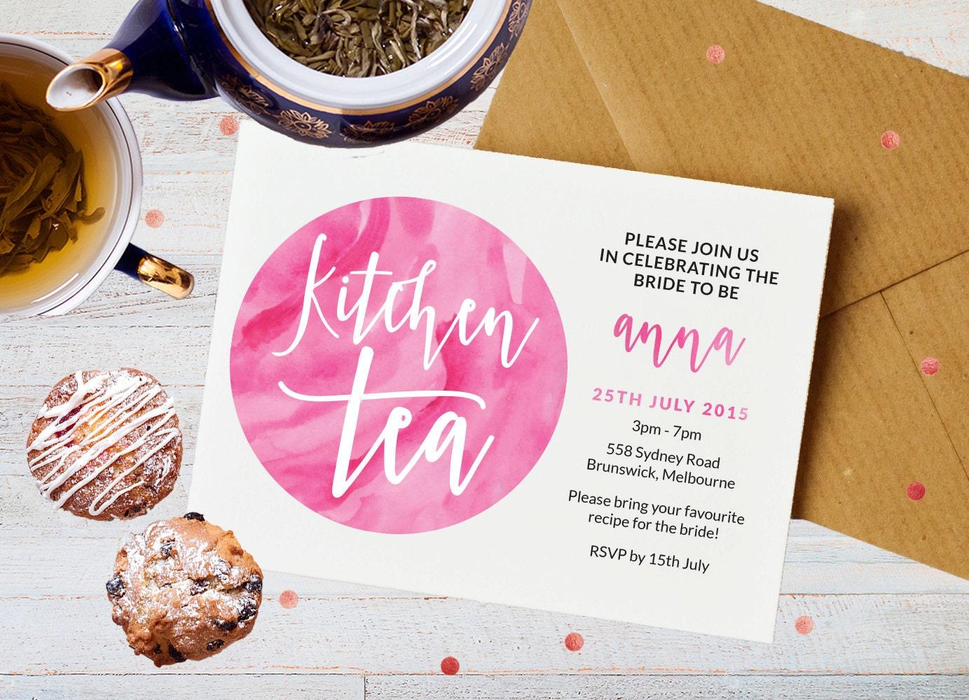 Kitchen Tea Invitation, Printable bridal shower invitation, Kitchen tea invites, Hens party invitation, Bridal tea invitation