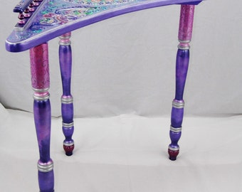 IRIDESCENT PURPLE PASSION Tall Corner Table with Ornate Features and Designs