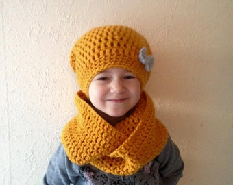 Mustard bow hat and scarf
