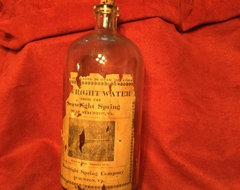 Vintage Bottle, Antique Bottle, Wright Water Apothecary Bottle, Glass Bottle; Water Bottle