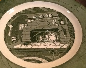 """Vintage (c.1950s) Green Ironstone """"Colonial Homestead"""" SET OF 9 transferware dinner plates made by Royal. Vintage Americana. MINT!"""