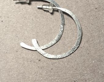 Hammered Hoop Earrings - Sterling Silver