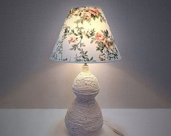 ON SALE Handmade one of a kind ceramic table lamp with fabric shade -MAYA