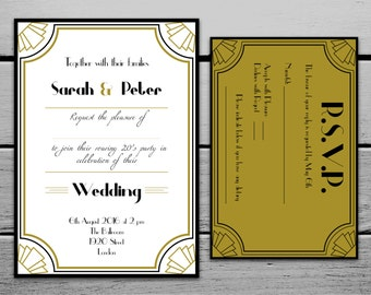 Printable 1920s Great Gatsby Wedding Invitation and RSVP Card