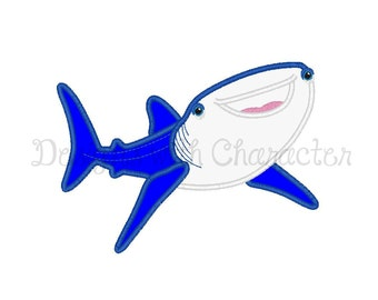 "Whale shark applique machine embroidery design- 3 sizes 4x4"", 5x7"", 6x10"""