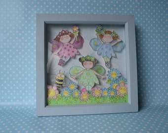 Smiley Fairies Box Frame Picture