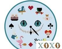 Alice in Wonderland Clock Cross Stitch Pattern Digital Download PDF File Cheshire Cat Pattern Mad Hatter XStitch Home Decor DIY Clock