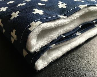In the Navy - Prefold burp cloths - Set of 2