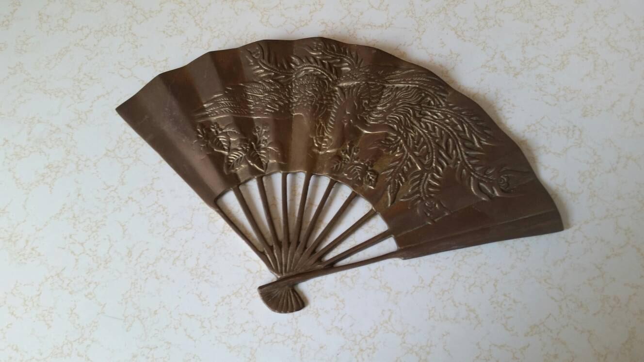 Vintage brass fan brass fan wall decor vintage brass wall - Wall fans decorative ...