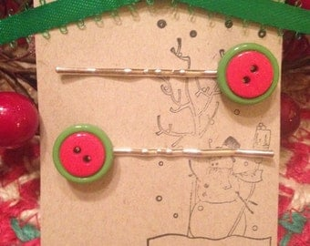 Christmas Button Bobby Pins