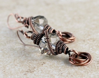 Boho Chic Jewelry - Boho Chic Earrings -  Wire Wrapped Earrings - Boho Earrings - Bohemian Earrings - Wire Wrapped Jewelry