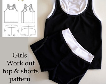 Sewing pattern Girls Work out top and Gym shorts Instant download pdf