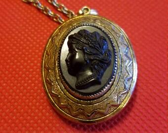 Vintage black cameo locket