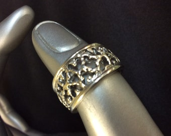Sterling Silver Filigree Ring Size 6.5