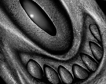 Smiley Monster 10. A Black and White giclée print of an original digital work of art.