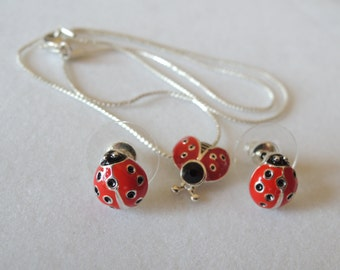 Red Lady Bug Necklace and Earring Set