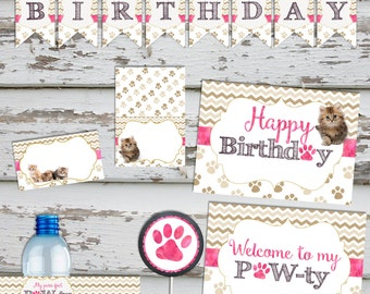 Kittens Birthday Cat Birthday Kitten Party Cute Kittens Pawty Birthday Party Pack Decorations INSTANT DOWNLOAD