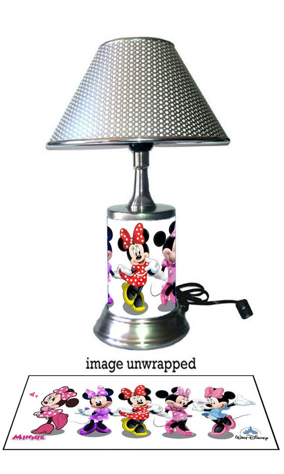 minnie mouse lamp with chrome shade disney 39 s. Black Bedroom Furniture Sets. Home Design Ideas