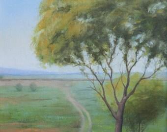 Greenery Painting, Original Oil on Canvas Fields Landscape, Nature Painting, Original Impressionist Nature Art, Handmade Art,