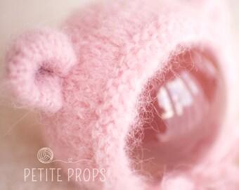 Teddy Bonnet, UK Seller, Newborn Boy, Newborn Girl, Mohair Like yarn, Alpaca yarn, photography props, 6-9 Months Teddy Hat,