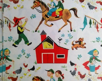 Vintage 1950s 1960s Farm Wrapping Paper Horse Barn Fishing Hens Gift Scrapbooking