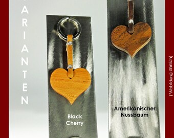 Key chain heart made of noble Woods